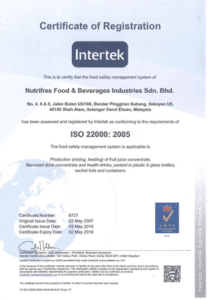 Nutrifres Fruit Concentrate ISO Certification