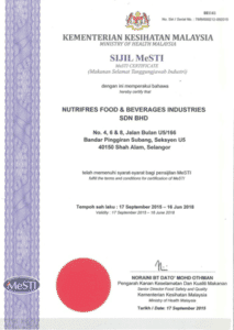 Nutrifres Fruit Concentrate MESTI Certification